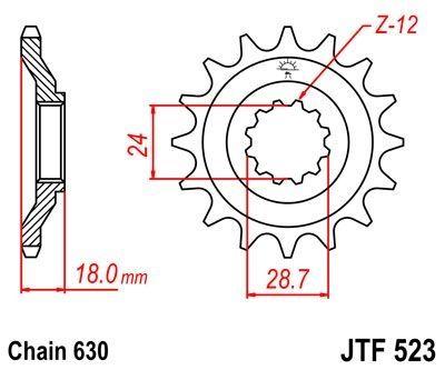 Pignon JT Sprockets Acier pas 630 15 dents - Pour Kawasaki GPZ 1100 83-85