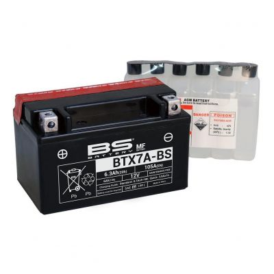 Batterie BS Battery BTX7A-BS 12V 6,3Ah MF avec pack acide