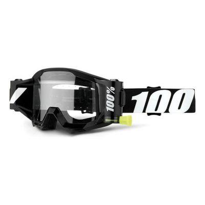 Masque cross 100% Strata Mud Outlaw Roll-off noir - écran clair