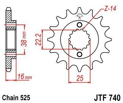 Pignon JT Sprockets Acier pas 525 14 dents - Pour Ducati 796 Hypermotard 10-11