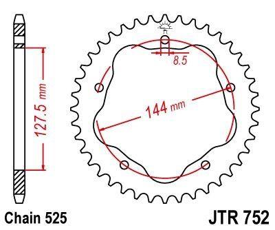 Couronne JT Sprockets Acier pas 525 39 dents - Pour Ducati 848 08-10
