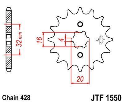 Pignon JT Sprockets Acier pas 428 14 dents - Pour Yamaha MT 125 15-16