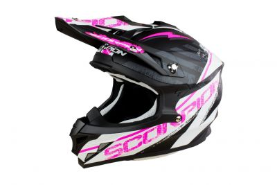 Casque cross Scorpion VX-15 EVO AIR GAMMA noir mat/blanc/rose