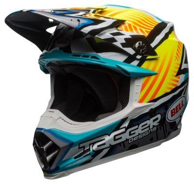 Casque cross Bell Moto 9 Mips Tagger Gloss Assymetric jaune/bleu/blanc