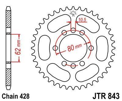 Couronne JT Sprockets Acier pas 428 53 dents - Pour Yamaha DT 125 LC 85-88