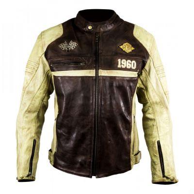 Blouson cuir Archive Racer Brun/Blanc