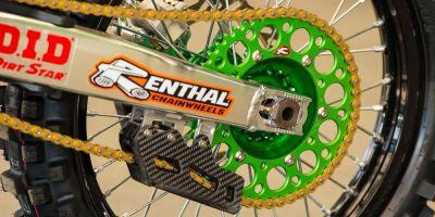 Couronne Renthal Ultra-Light anti boue anodisée verte 48 dents pour Kawasaki KX 250 F 04-10