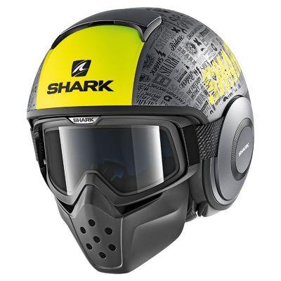 Casque jet Shark DRAK TRIBUTE RM MAT anthracite/jaune/noir