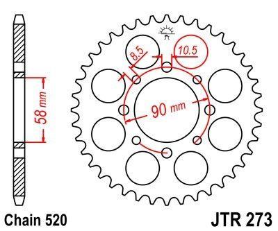 Couronne JT Sprockets Acier pas 520 44 dents - Pour Honda XL 125 Varadero 01-13