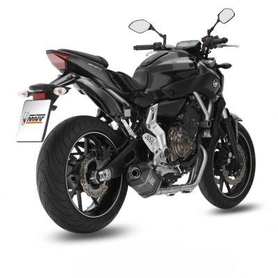 Ligne complète 2x1 MIVV Speed Edge Steel noir / casquette carbone Yamaha MT-07 14-