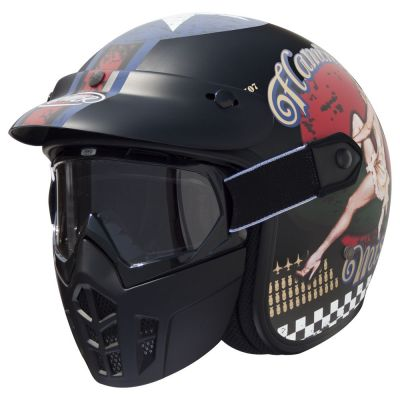 Casque jet Premier MASK PIN UP 9 BM noir mat