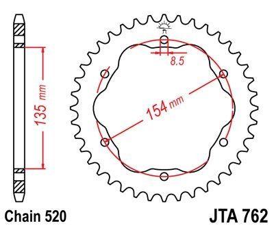 Couronne JT Sprockets Aluminium pas 520 38 dents - Pour Ducati 1098 R 07-09