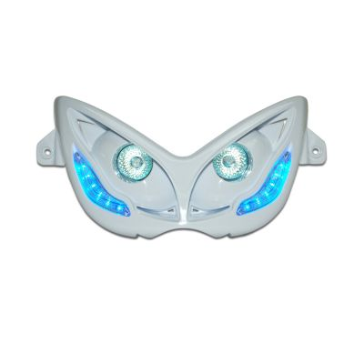 Double optique Replay RR8 Mbk Nitro 97-12 blanc avec LED bleu
