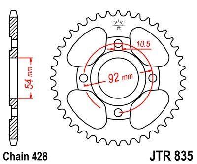 Couronne JT Sprockets Acier pas 428 49 dents - Pour Yamaha SR 125 95-02