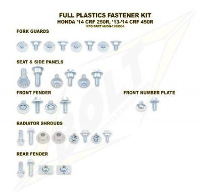 Kit visserie complet de plastiques Bolt pour Honda CRF 250 R 14-16