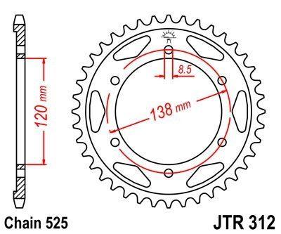 Couronne JT Sprockets Acier pas 525 40 dents - Pour Honda RVF 750 R 94-98