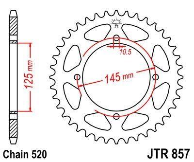 Couronne JT Sprockets Acier pas 520 47 dents - Pour Yamaha XV 125 Virago 97-01