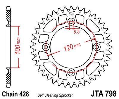 Couronne JT Sprockets Aluminium pas 428 47 dents - Pour Suzuki RM 85 02-16