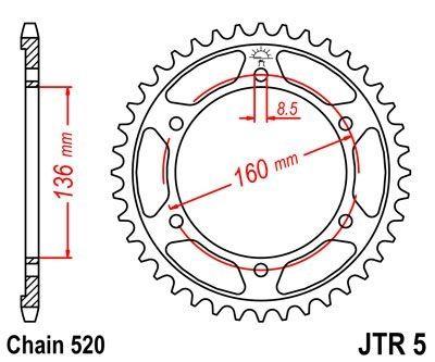 Couronne JT Sprockets Acier pas 520 41 dents - Pour Aprilia ETX 125 Tuareg 85-87