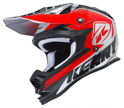 Casque cross Kenny Performance argent/rouge