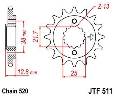 Pignon JT Sprockets Acier pas 520 15 dents - Pour Kawasaki KLX 650 R 99-01