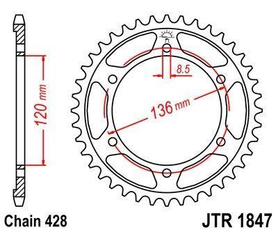 Couronne JT Sprockets Acier pas 428 57 dents - Pour Yamaha TDR 125 93-01
