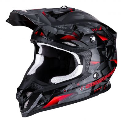 Casque cross Scorpion VX-16 Air Punch noir/argent/rouge