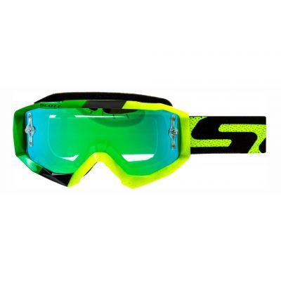 Masque cross Scott Hustle MX noir/jaune/vert – écran chrome vert