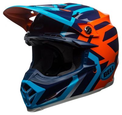 Casque cross Bell Moto 9 Mips Gloss bleu/orange district