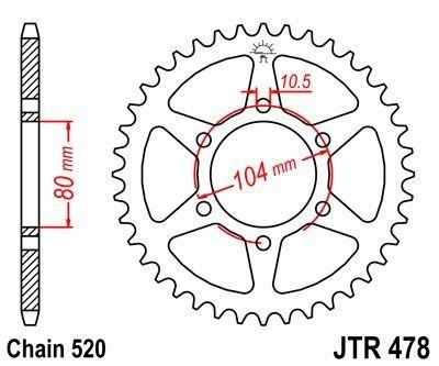Couronne JT Sprockets Acier pas 520 43 dents - Pour Kawasaki Z750 04-12