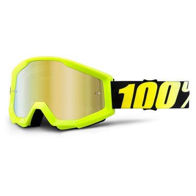 Masque cross 100% STRATA NEON mirror gold lens jaune
