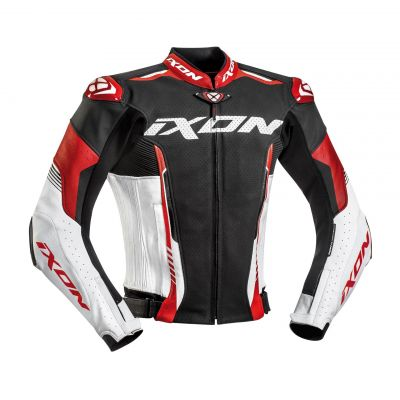 Blouson cuir Ixon Vortex 2 noir/blanc/rouge