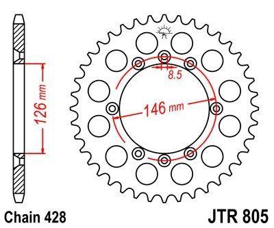 Couronne JT Sprockets Acier pas 428 50 dents - Pour Suzuki DR 125 SM 08-13