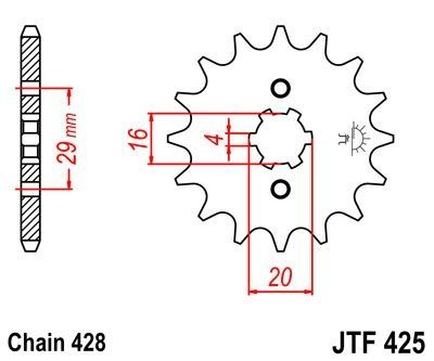 Pignon JT Sprockets Acier pas 428 14 dents - Pour Suzuki RG 80 86-93