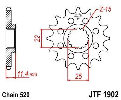 Pignon JT Sprockets Acier pas 520 15 dents - Pour KTM 690 Enduro R 08-17