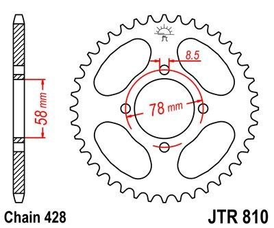 Couronne JT Sprockets Acier pas 428 48 dents - Pour Suzuki RG 80 88-93