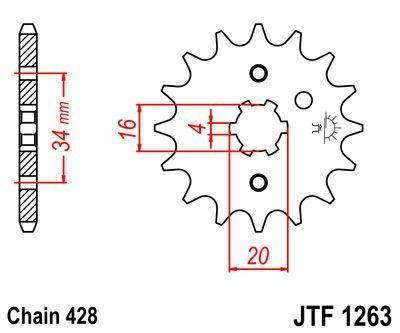 Pignon JT Sprockets Acier pas 428 16 dents - Pour Yamaha TZR 125 88-93