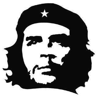 Autocollant Che Guevara 7x7cm noir