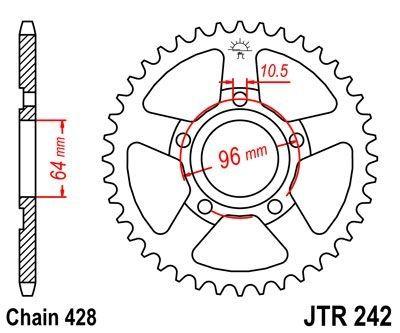 Couronne JT Sprockets Acier pas 428 53 dents - Pour Honda XL 125 R Pro Link 82-87