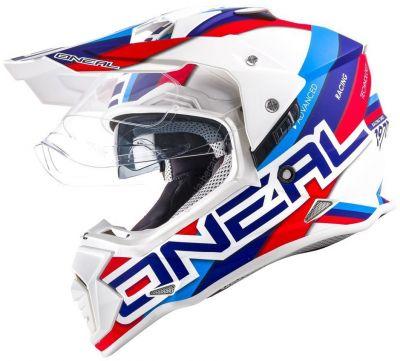 Casque intégral O'Neal Sierra II Circuit blanc/bleu
