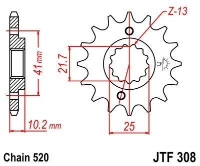 Pignon JT Sprockets Acier pas 520 15 dents - Pour Honda NX 650 Dominator 89-01