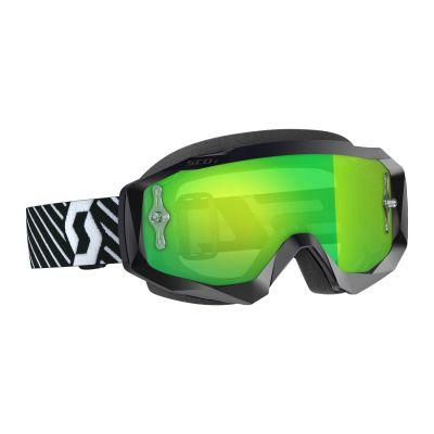Masque cross Scott Hustle X MX noir/blanc – écran chrome vert