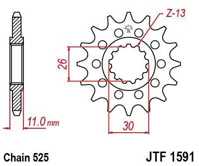 Pignon JT Sprockets Acier pas 525 16 dents - Pour Yamaha MT-07 14-16