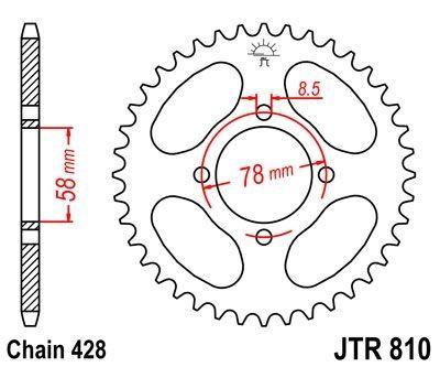 Couronne JT Sprockets Acier pas 428 42 dents - Pour Suzuki RG 125 86-92