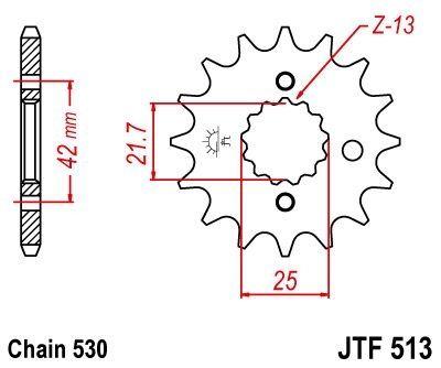 Pignon JT Sprockets Acier pas 530 15 dents - Pour Kawasaki GPX 600 R 88-00