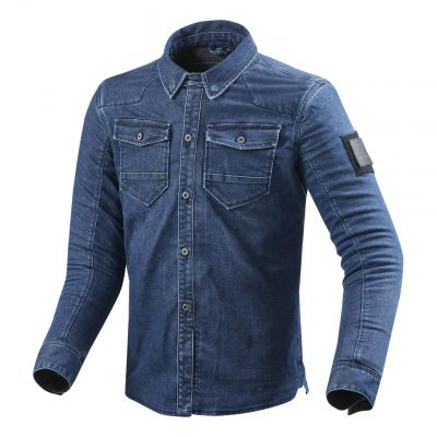 Sur-chemise moto Rev'it Hudson bleu clair délavé