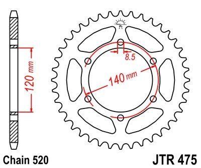 Couronne JT Sprockets Acier pas 520 40 dents - Pour Kawasaki KL 250 79-85