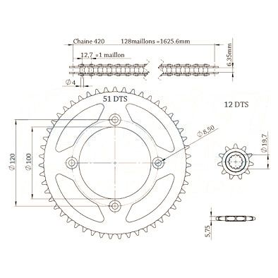 Kit chaîne Afam pas 420 12X51 Beta 50 RR 05-