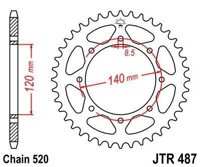 Couronne JT Sprockets Acier pas 520 42 dents - Pour Kawasaki KLR 650 95-03