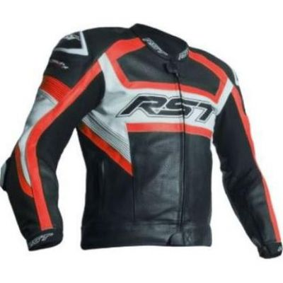Blouson cuir RST Tractech Evo R rouge fluo